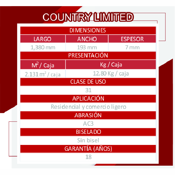 COUNTRY LIMITED CEREZO TABLA